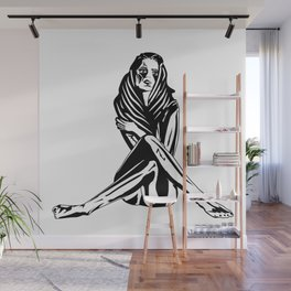 Woman with a tattoo Wall Mural