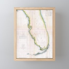 Vintage Coast of Florida Survey Map Framed Mini Art Print