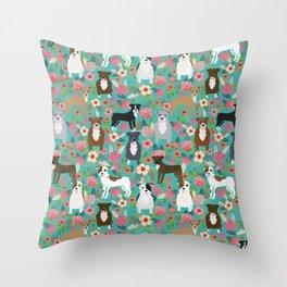 Pitbull mixed coat colors dog breed lover pibbles pitbulls florals gifts Throw Pillow