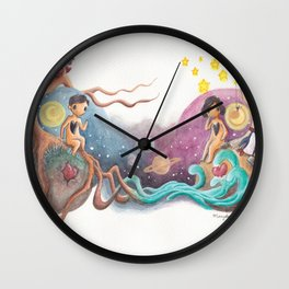 Boy and Girl Love At First Sight Across the Galaxy Wall Clock