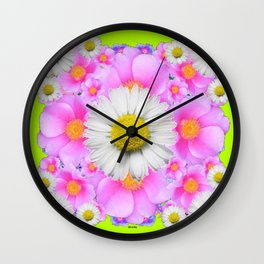 Chartreuse Green Color Shasta Daisies & Rose Pattern Wall Clock