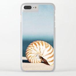 Seashell on Beach Photography, Nautilus Shell Coastal Photograph, Blue Orange Beach Landscape Clear iPhone Case