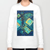 sparkles Long Sleeve T-shirts featuring GALAXY SPARKLES BLUE by Deyana Deco