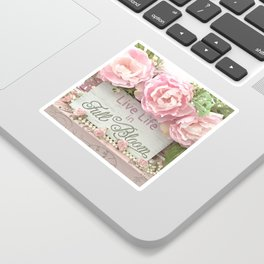 Shabby Chic Cottage Pink Peonies Inspirational Art Print Home Decor Sticker