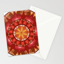 warm color hand made manadalaart Stationery Cards