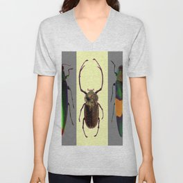 BEETLES ON CREAM & GREY  ABSTRACT ART Unisex V-Neck