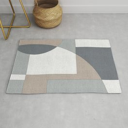Geometric Intersecting Circles and Rectangles in Neutral Colors Rug