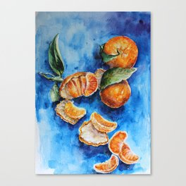 Oranges - Tangerines - Tropical Fruits in Watercolor Canvas Print