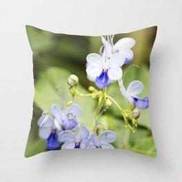 Blue Glory Bower Flowers Throw Pillow