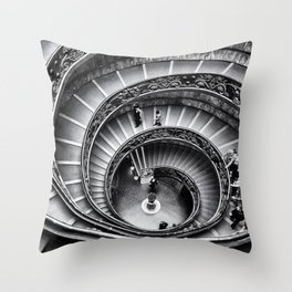 Sublime Spiral Staircase, Vatican, Rome, Italy black and white photograph Throw Pillow