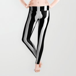 White drawing stripes - black and white  striped pattern Leggings