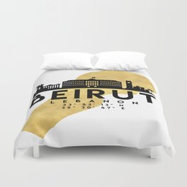 BEIRUT LEBANON SILHOUETTE SKYLINE MAP ART Duvet Cover