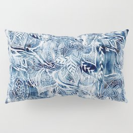 Modern navy blue tie die watercolor floral white boho hand drawn pattern Pillow Sham