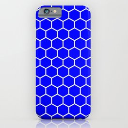 Honeycomb (White & Blue Pattern) iPhone Case