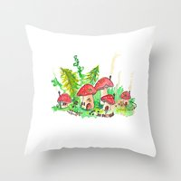 pixies Throw Pillows featuring Pixie Village by Binkfloyd