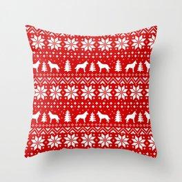 Belgian Malinois Silhouettes Christmas Sweater Pattern Throw Pillow