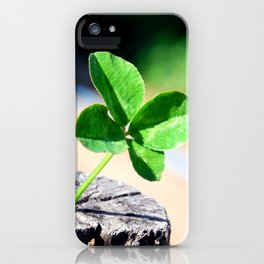 Four leaf clover for good luck iPhone Case