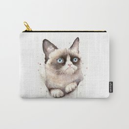 Grumpy Watercolor Cat Animals Meme Geek Art Carry-All Pouch