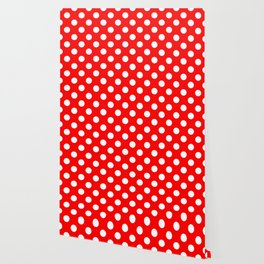 Red - White Polka Dots - Pois Pattern Wallpaper
