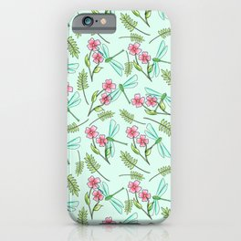 Summer Walks in The Woods Dragonfly and Flowers Pattern iPhone Case