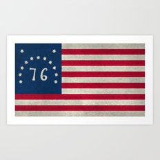 American Bennington flag - Vintage Stone Textured Art Print