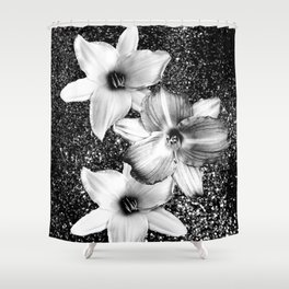White Lilies on Black Glitter #1 #floral #decor #art #society6 Shower Curtain