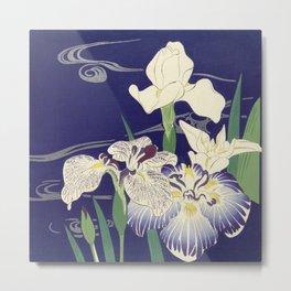 Irises byTsukioka Kôgyo Japanese Woodcut Metal Print