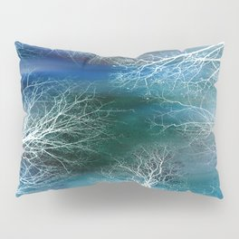 Abstract Midnight Trees Turquoise Teal Pillow Sham