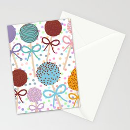 seamless pattern Colorful Sweet Cake pops set with bow on white polka dot background Stationery Cards