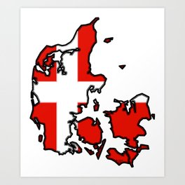 Denmark Map with Danish Flag Art Print