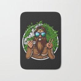 Bigfoot Hippie Smoking Weed Bath Mat