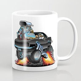 Classic Sixties American Muscle Car Popping a Wheelie Cartoon Illustration Coffee Mug