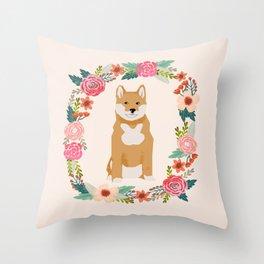 shiba inu floral wreath pet portrait dog breed dog mom Throw Pillow