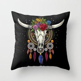 Hippie Cow Skull Dream Catcher Throw Pillow