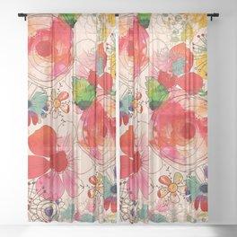 joyful floral decor Sheer Curtain
