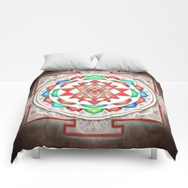 Sri Yantra Colorful Floral I.II Comforters