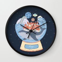 Magical whale carries a city - children illustration Wall Clock