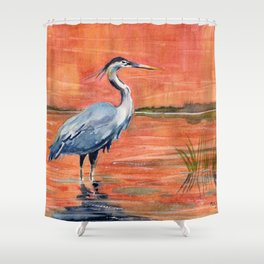 Great Blue Heron in Marsh Shower Curtain