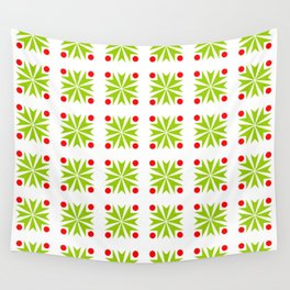 Symmetric patterns 138 green and red Wall Tapestry