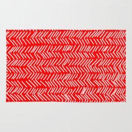 Scarlet Herringbone Lines Rug