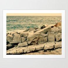 Sea on the rocks Art Print