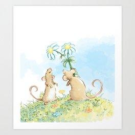 Mouse Flower Gift of Love Art Print