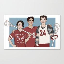 Scott McCall/Stiles Stilinski/Kira Yukimura Lacrosse Canvas Print
