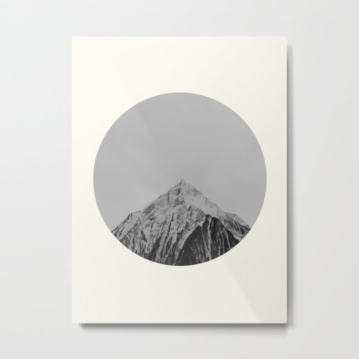 Mid Century Modern Round Circle Photo Grey Minimalist Monochrome Snow Mountain Peak Metal Print