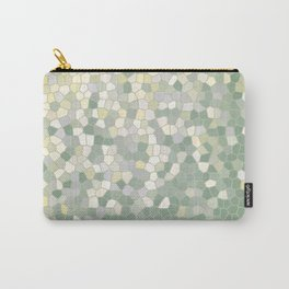 Yellow and Sage Green Mosaic Pattern Carry-All Pouch