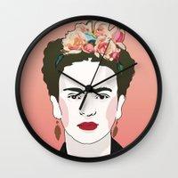 frida Wall Clocks featuring Frida by Amanda Corbett