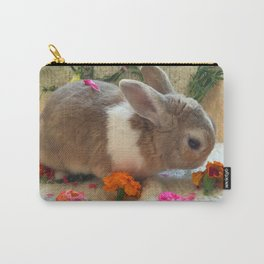 Bunny Eating Edible, Organic Flowers Carry-All Pouch