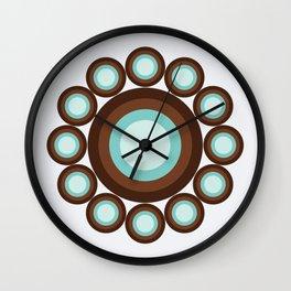 Brown & Blue Targets Wall Clock