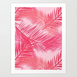 Palm Leaf Print, Coral, Peach and Pastel Pink Art Print