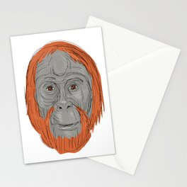 Unflanged Male Orangutan Drawing Stationery Cards